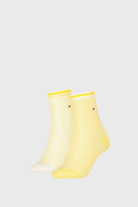 2 PACK дамски чорапи Tommy Hilfiger Honeycomb Yellow