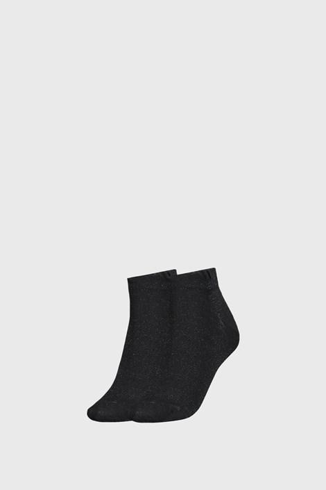 2 PACK черни дамски чорапи Tommy Hilfiger Lurex