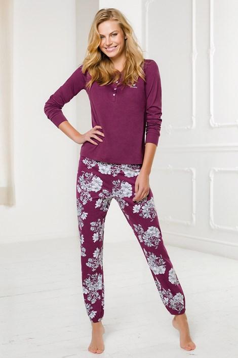 Винен дамски дълъг пижамен комплект