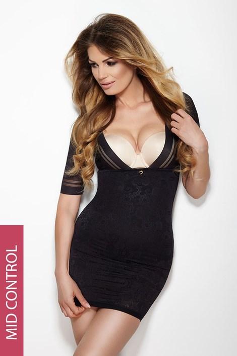 Стягаща рокля Glossy черна